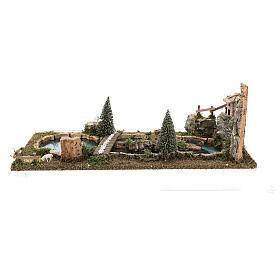 Laghetto ponte e pecorelle 20x25x55 cm presepi 6-8 cm s5