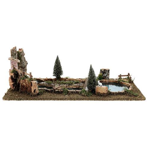 Laghetto ponte e pecorelle 20x25x55 cm presepi 6-8 cm 1