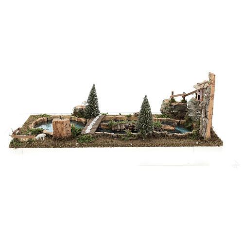 Bridge and sheep pond, 20x25x55 cm for 6-8 cm nativity 5