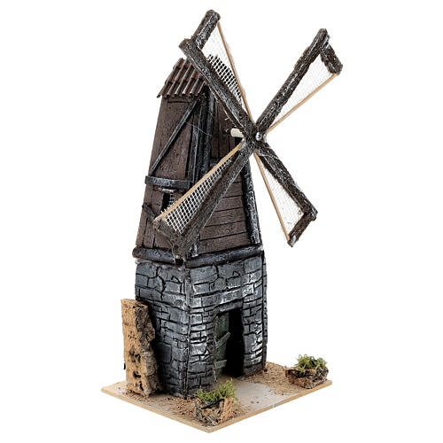 Working mill for 4-6 cm Nativity Scenes, 18x11x13 cm resin 2