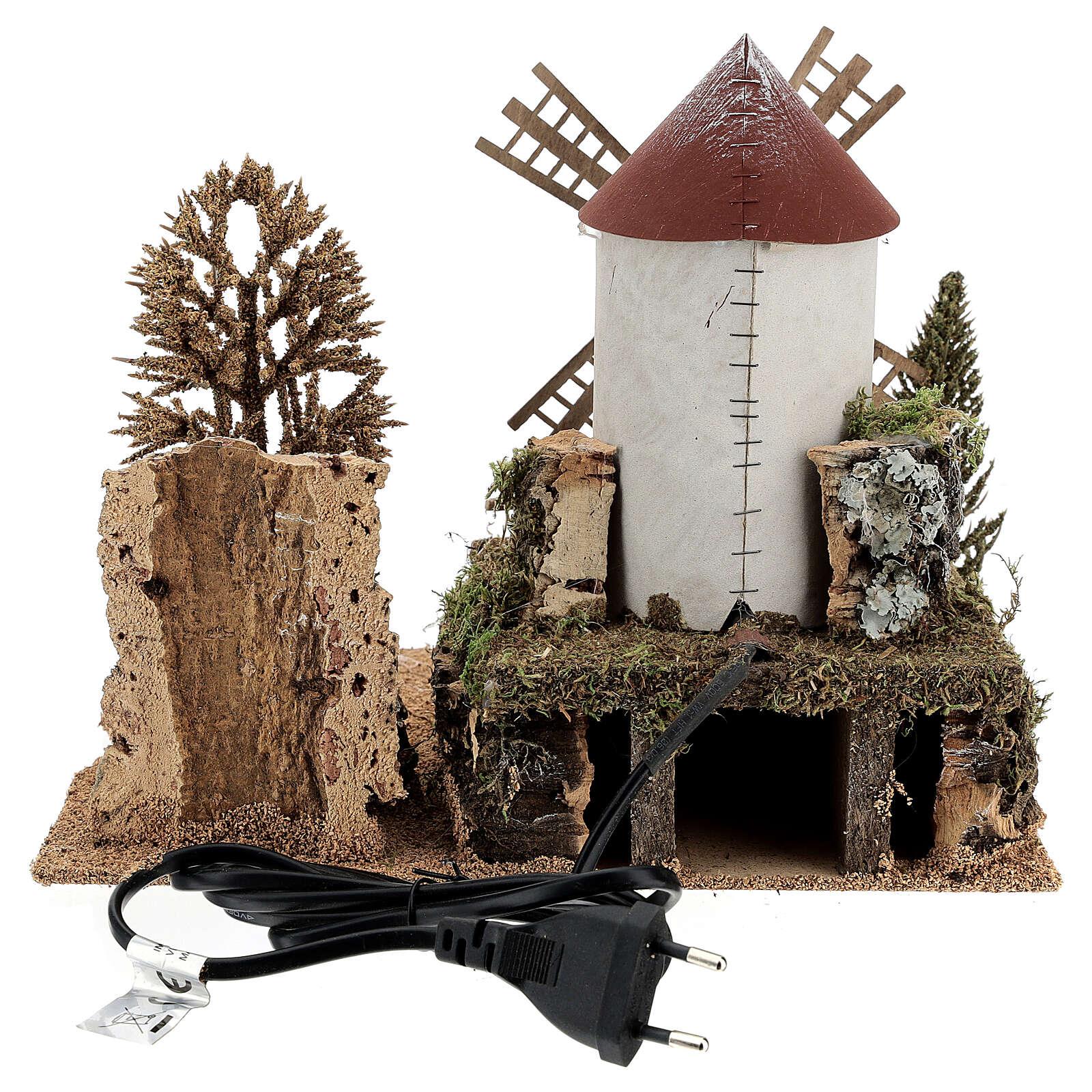 Landscape with working windmill 6-8 cm Nativity Scene 26x28x20 cm 4