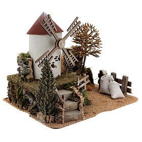 Landscape with working windmill 6-8 cm Nativity Scene 26x28x20 cm s3