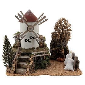 Paysage moulin à vent électrique crèche 6-8 cm 25x30x20 cm s1