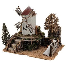 Paysage moulin à vent électrique crèche 6-8 cm 25x30x20 cm s2
