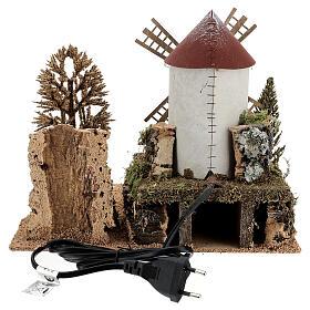 Paysage moulin à vent électrique crèche 6-8 cm 25x30x20 cm s4
