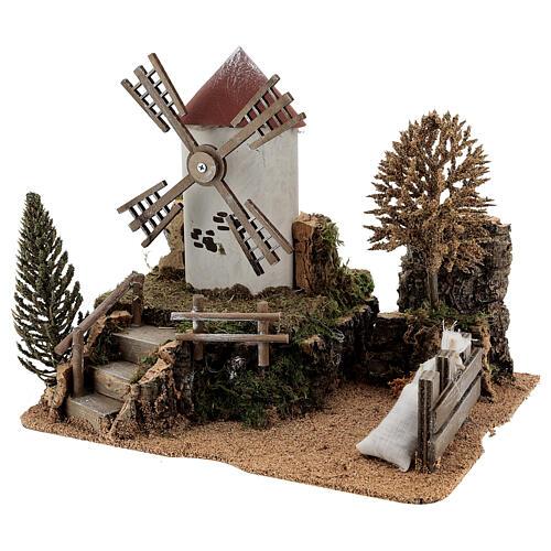 Paysage moulin à vent électrique crèche 6-8 cm 25x30x20 cm 2
