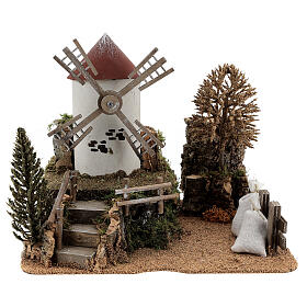 Working windmill with trees, for 6-8 cm nativity 25x30x20 cm s1