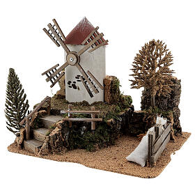 Working windmill with trees, for 6-8 cm nativity 25x30x20 cm s2