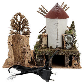 Working windmill with trees, for 6-8 cm nativity 25x30x20 cm s4