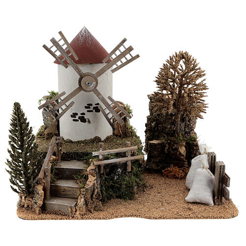 Working windmill with trees, for 6-8 cm nativity 25x30x20 cm 1