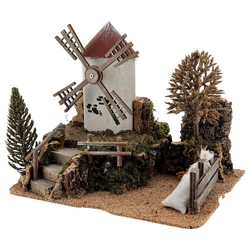 Working windmill with trees, for 6-8 cm nativity 25x30x20 cm 2
