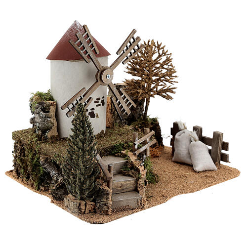 Working windmill with trees, for 6-8 cm nativity 25x30x20 cm 3