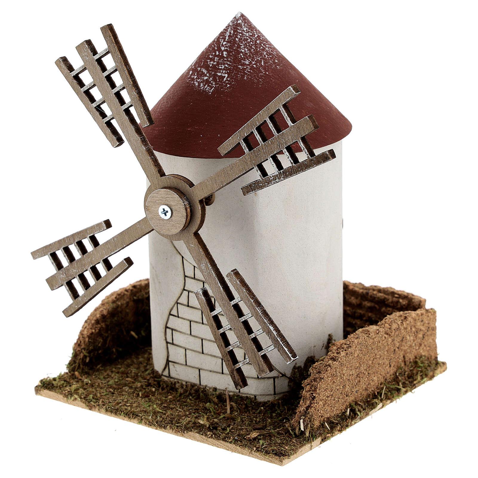 Mulino a vento pala fiamminga funzionante 20x15x15 cm presepi 4-6 cm 4