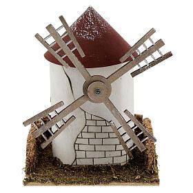 Mulino a vento pala fiamminga funzionante 20x15x15 cm presepi 4-6 cm s1