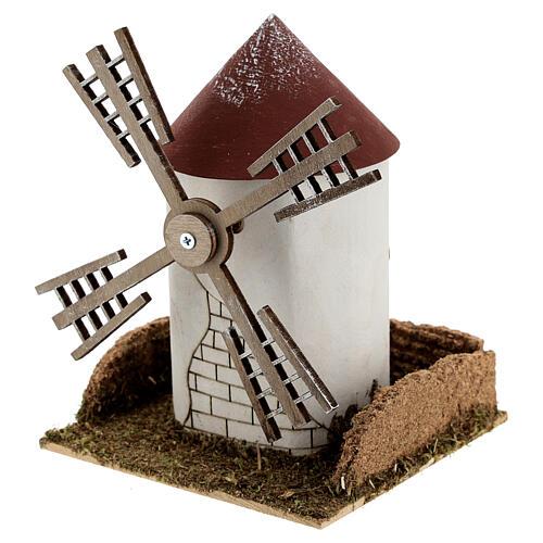 Mulino a vento pala fiamminga funzionante 20x15x15 cm presepi 4-6 cm 2