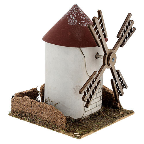 Mulino a vento pala fiamminga funzionante 20x15x15 cm presepi 4-6 cm 3