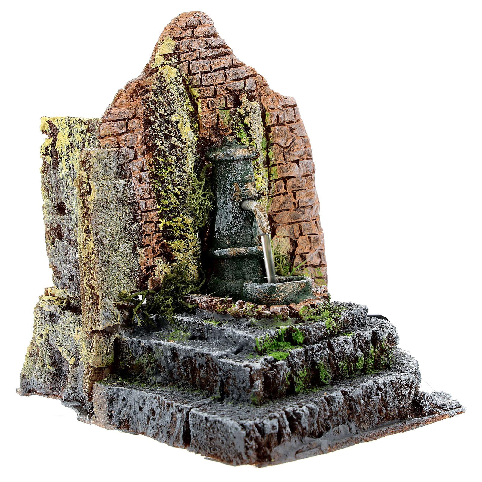 Working fountain in masonry Nativity Scene 10-12 cm 14x13x12 cm 4