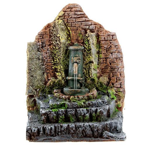 Working fountain in masonry Nativity Scene 10-12 cm 14x13x12 cm 1