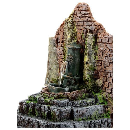 Working fountain in masonry Nativity Scene 10-12 cm 14x13x12 cm 2