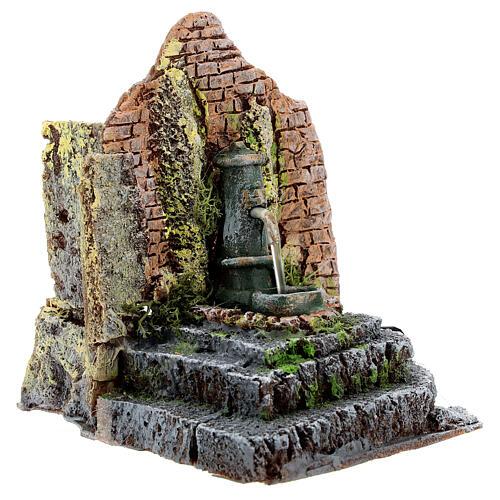 Working fountain in masonry Nativity Scene 10-12 cm 14x13x12 cm 5