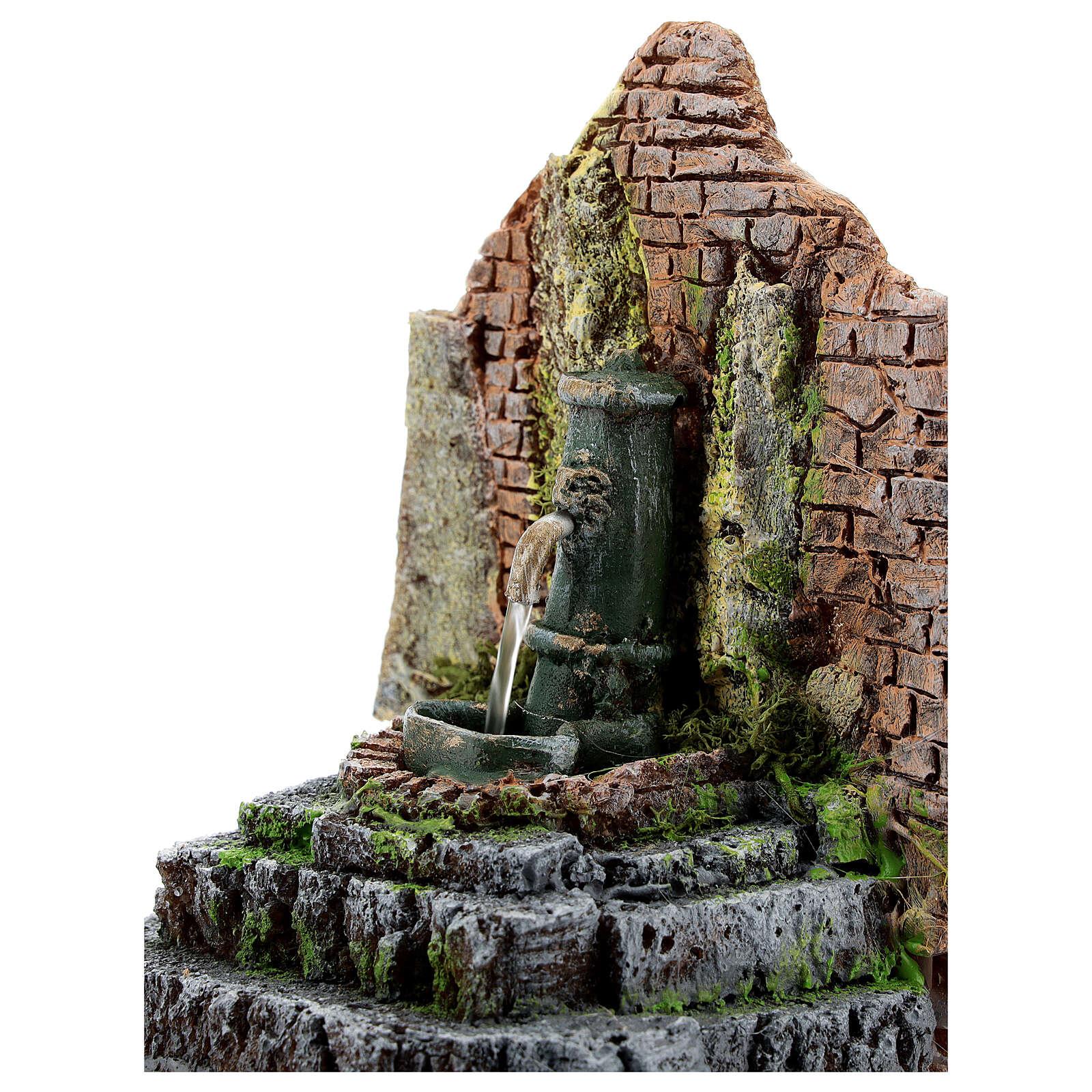 Fontana funzionante in muratura presepe 10-12 cm 15x15x10 cm 4