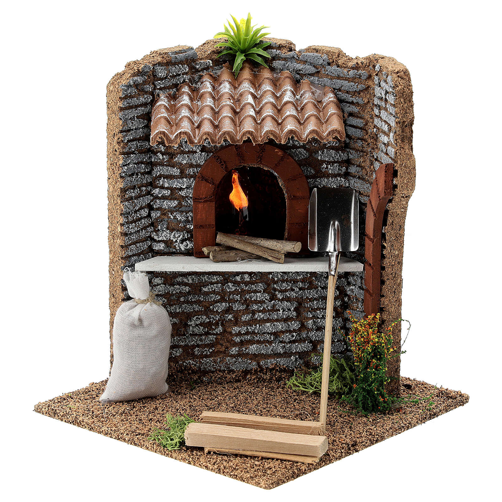 Corner brick oven figurine with LED flame, 15x15x15 cm 10-12 cm nativity 4