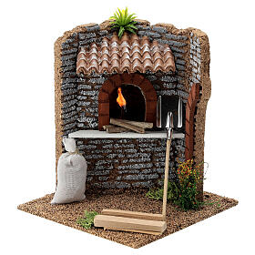 Corner brick oven figurine with LED flame, 15x15x15 cm 10-12 cm nativity s1