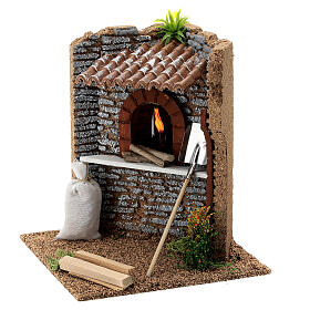Corner brick oven figurine with LED flame, 15x15x15 cm 10-12 cm nativity s2