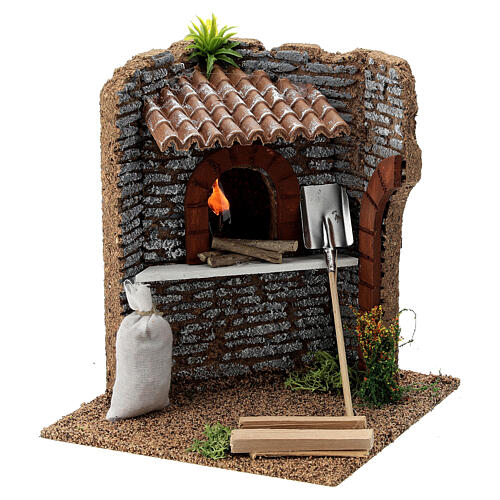 Corner brick oven figurine with LED flame, 15x15x15 cm 10-12 cm nativity 3