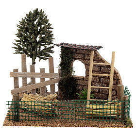 Farm fence with hay, for 8-10 cm nativity 20x15x15 cm s1