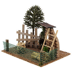 Farm fence with hay, for 8-10 cm nativity 20x15x15 cm s2