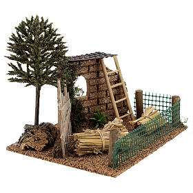 Farm fence with hay, for 8-10 cm nativity 20x15x15 cm s3