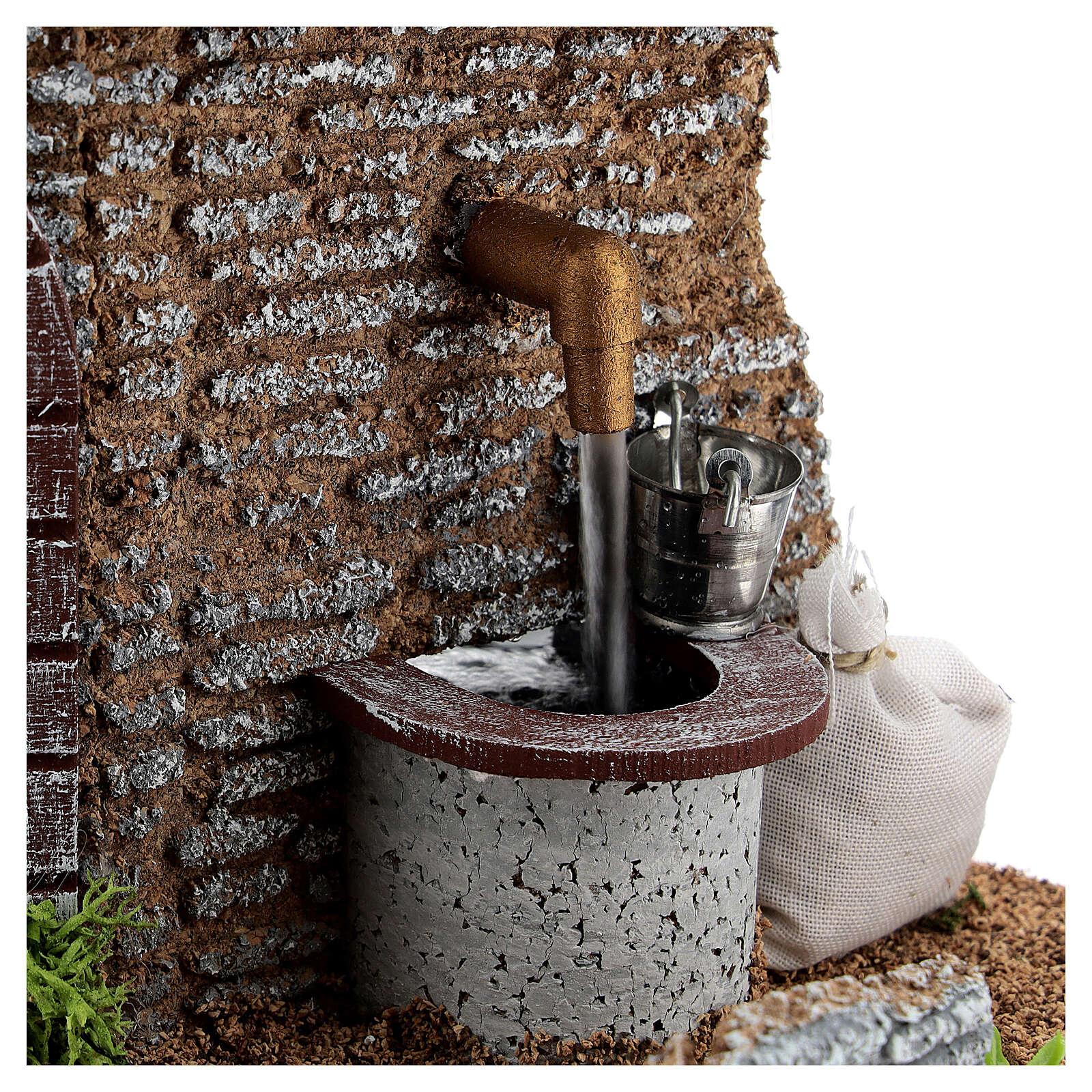 Fontana pompa funzionante 15x15x15 cm presepi 8-10 cm 4