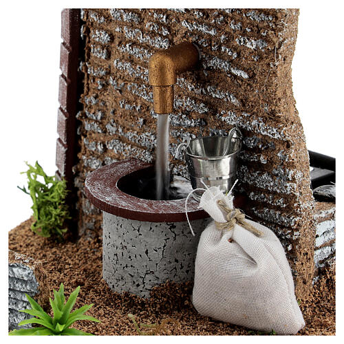 Fontana pompa funzionante 15x15x15 cm presepi 8-10 cm 2