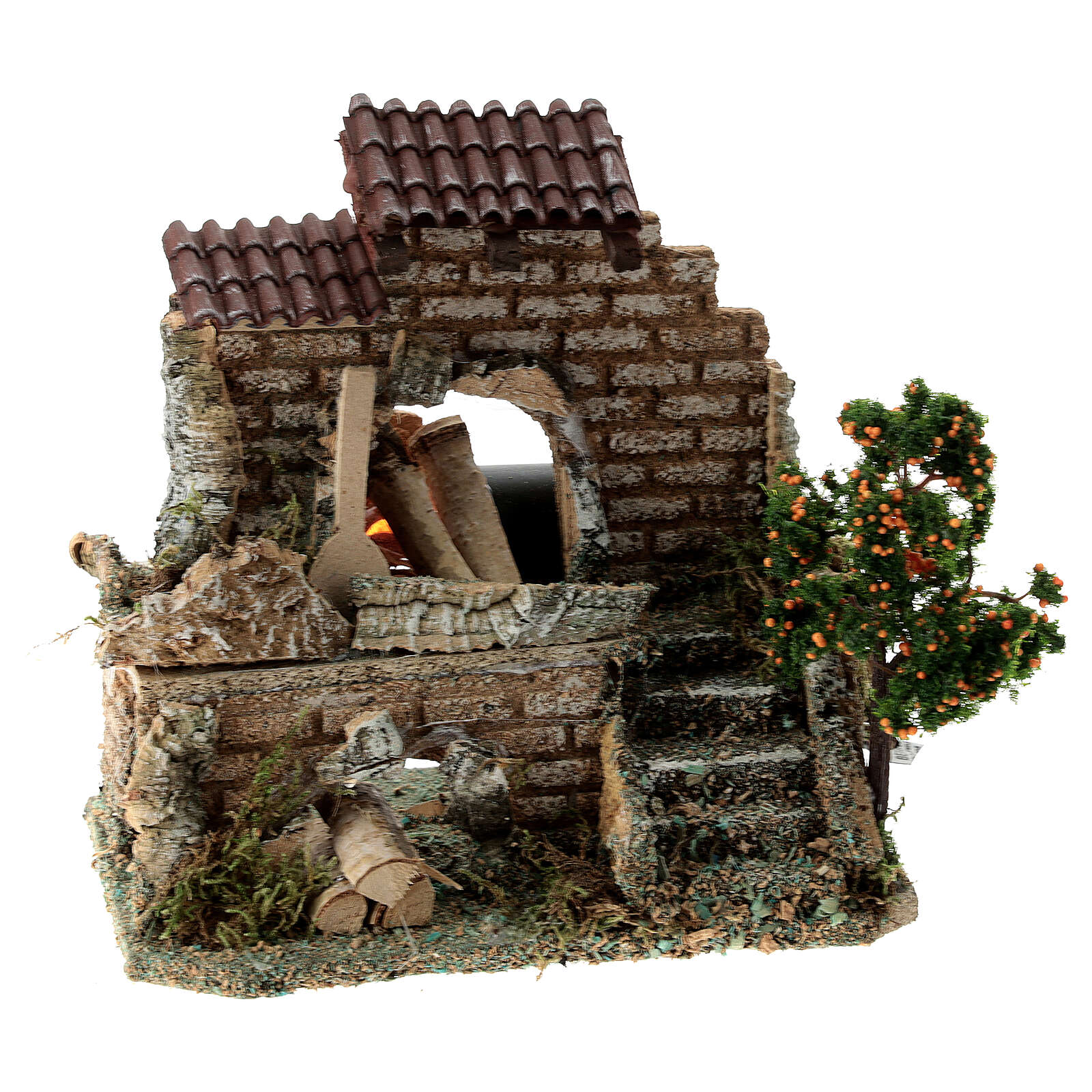 Working fire oven figurine, 20x15x10 cm 6-8 cm nativity 4