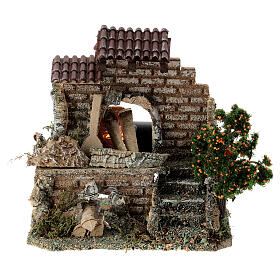 Working fire oven figurine, 20x15x10 cm 6-8 cm nativity s1