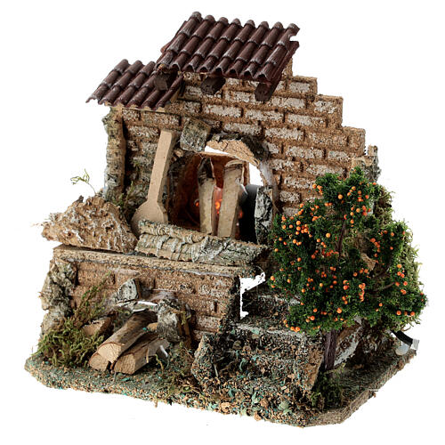 Working fire oven figurine, 20x15x10 cm 6-8 cm nativity 2