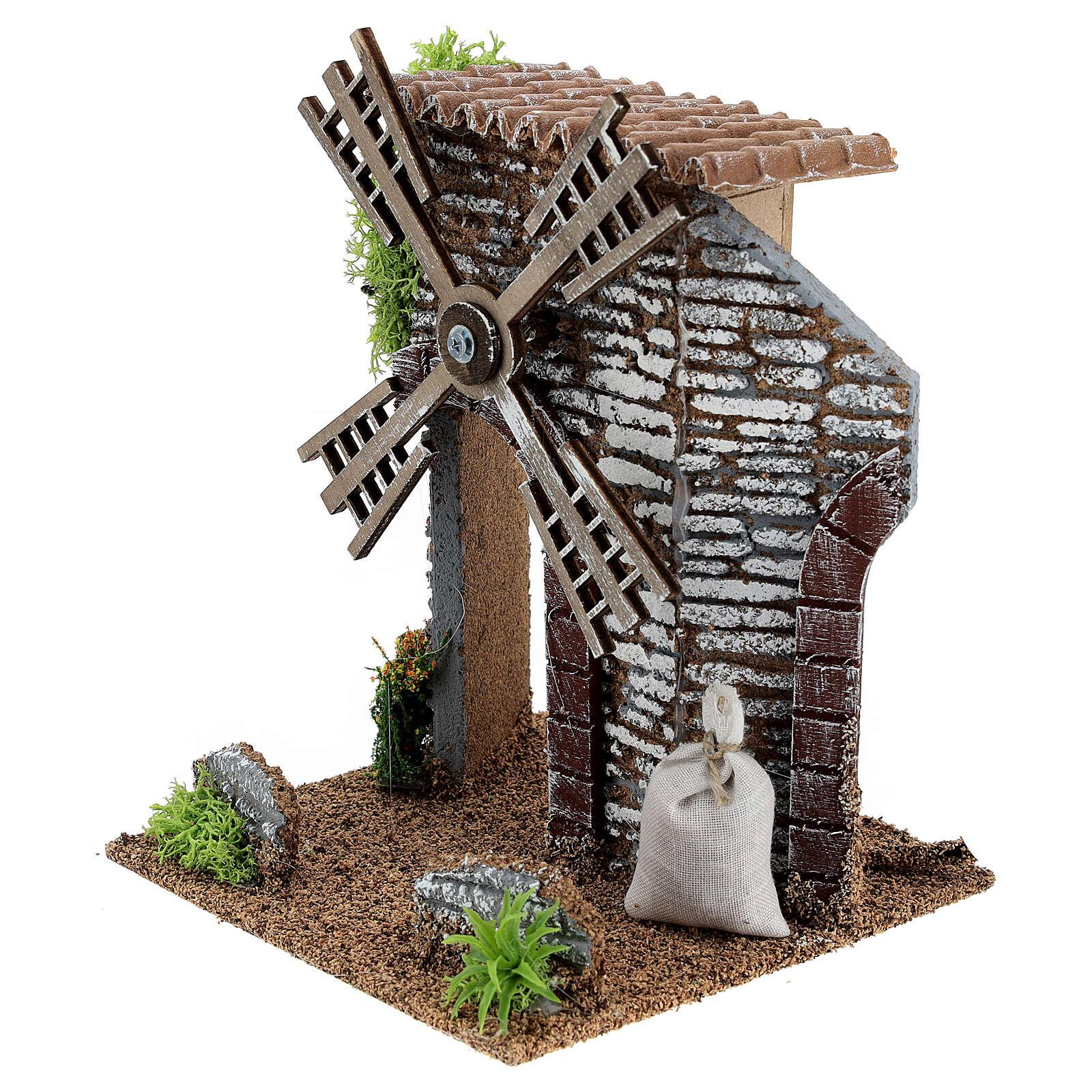 Working windmill cottage 20x14x14 cm nativity scenes 6-8 cm 4