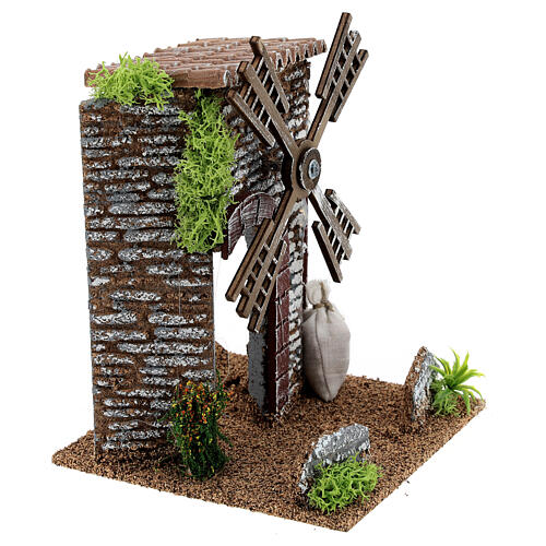 Working windmill cottage 20x14x14 cm nativity scenes 6-8 cm 3