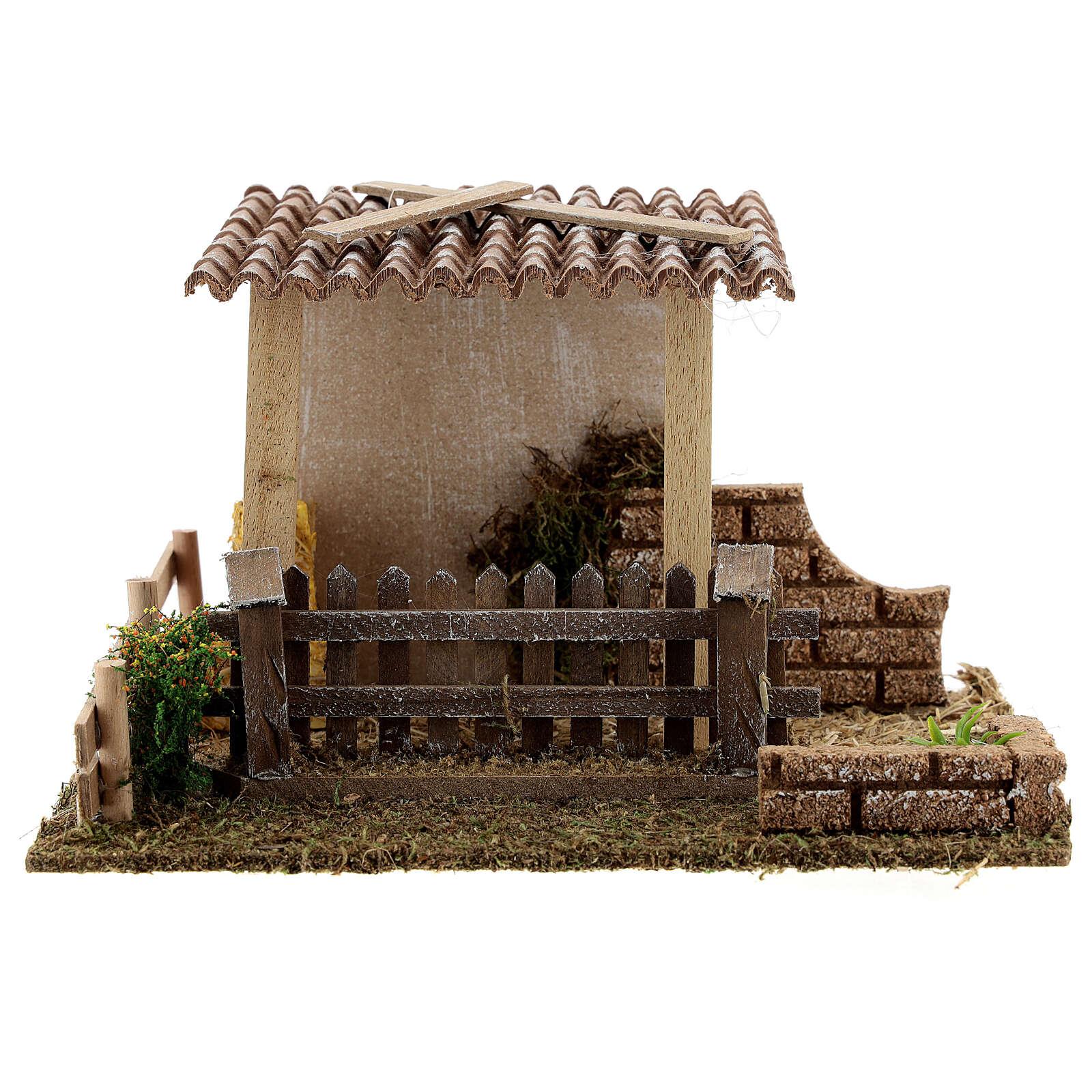 Straw barn and fence 13x19x15 cm nativity scenes 8-10 cm 4