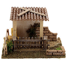 Straw barn and fence 13x19x15 cm nativity scenes 8-10 cm s1