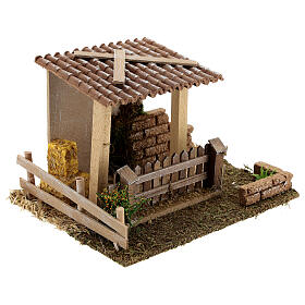 Straw barn and fence 13x19x15 cm nativity scenes 8-10 cm s4