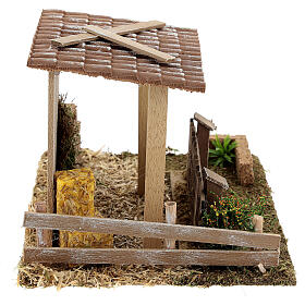 Straw barn and fence 13x19x15 cm nativity scenes 8-10 cm s5