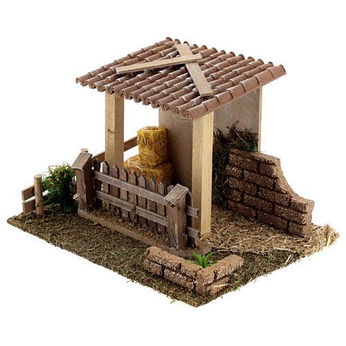 Straw barn and fence 13x19x15 cm nativity scenes 8-10 cm 2