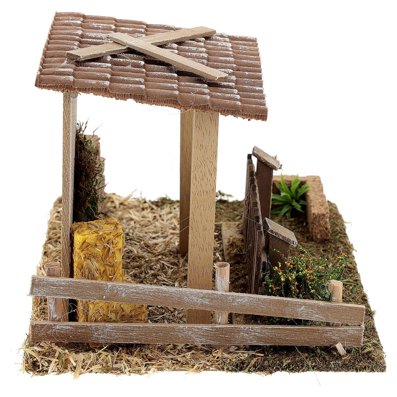 Étable paille et clôture 15x20x15 cm crèche 8-10 cm 4