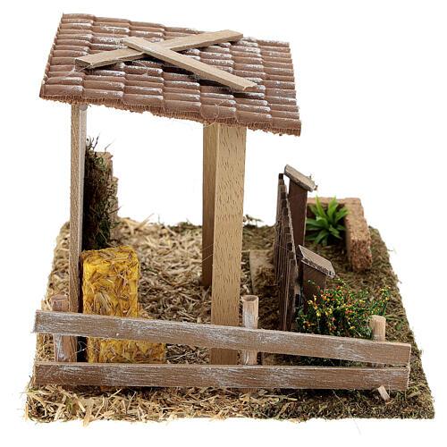 Étable paille et clôture 15x20x15 cm crèche 8-10 cm 5