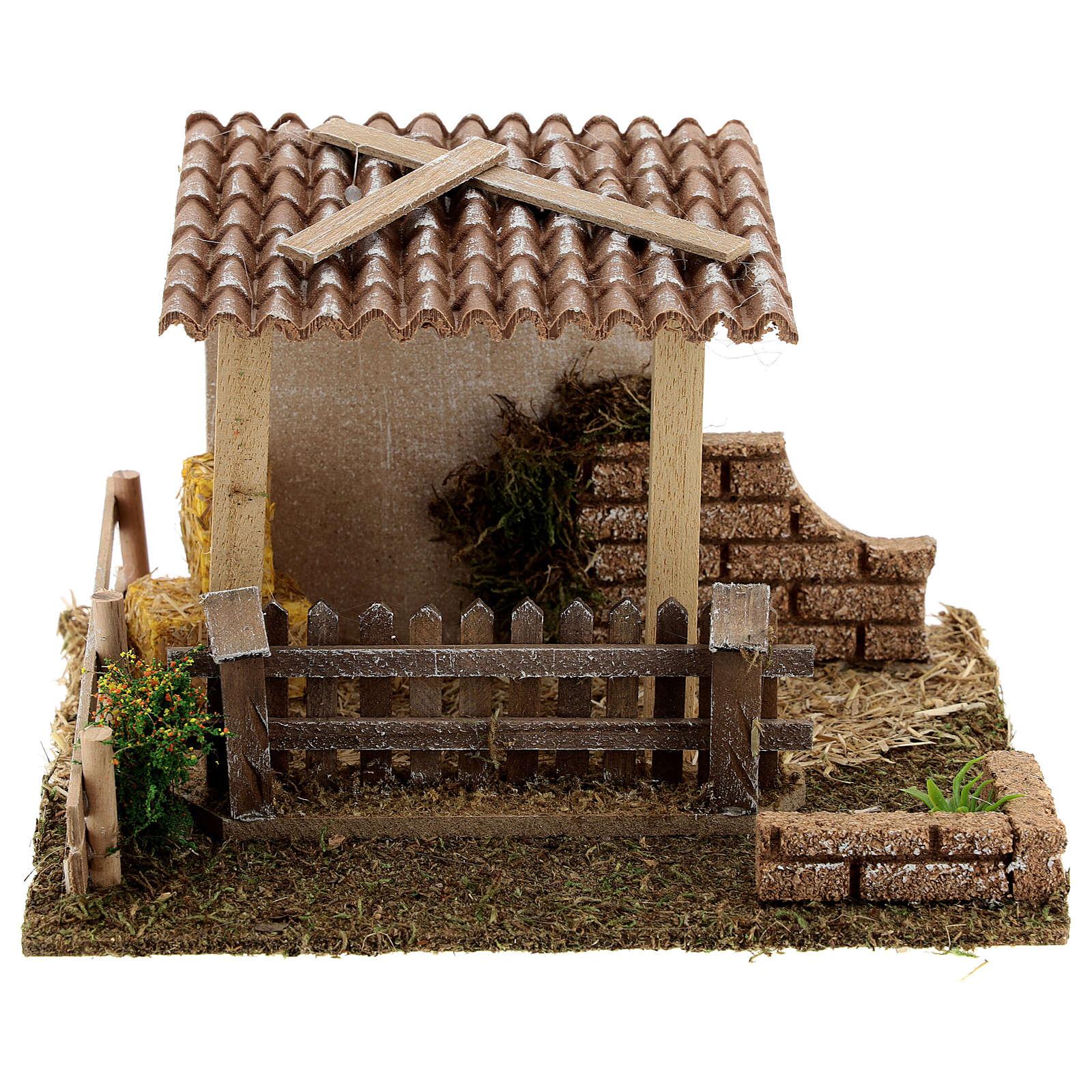 Stable with straw fence, 15x20x15 cm 8-10 cm nativity 4