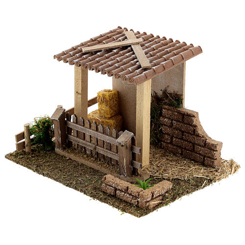 Stable with straw fence, 15x20x15 cm 8-10 cm nativity 2