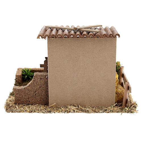 Stable with straw fence, 15x20x15 cm 8-10 cm nativity 6