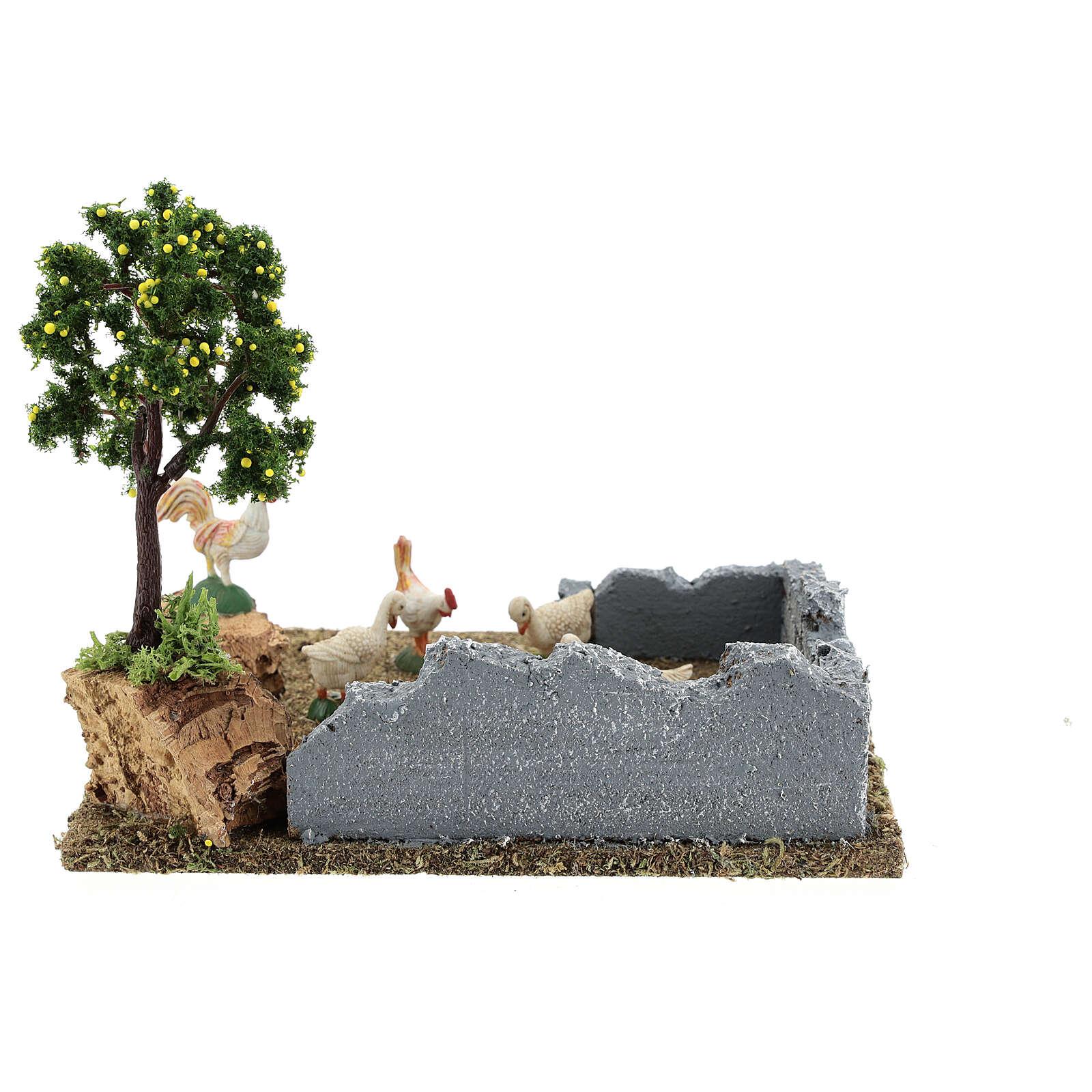 Gallinero con árbol limones belén 8-12 cm 20x15x15 cm 4